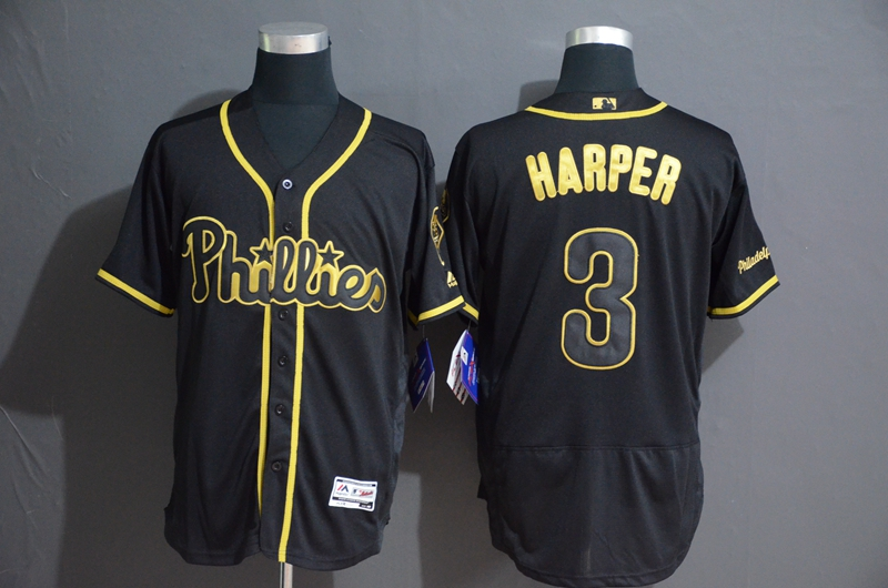 Phillies 3 Bryce Harper Black Gold Flexbase Jersey