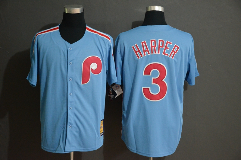 Phillies 3 Bryce Harper Light Blue Cool Base Cooperstown Jersey