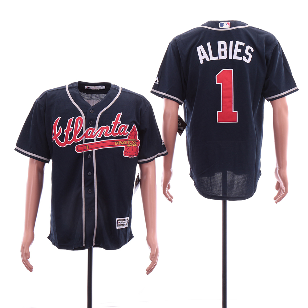 Braves 1 Ozzie Albies Navy Cool Base Jersey