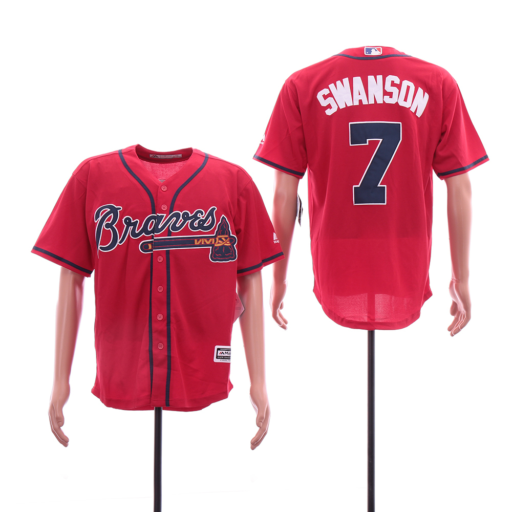 Braves 7 Dansby Swanson Red Cool Base Jersey