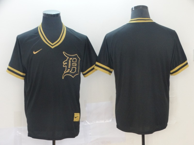 Tigers Blank Black Gold Nike Cooperstown Collection Legend V Neck Jersey