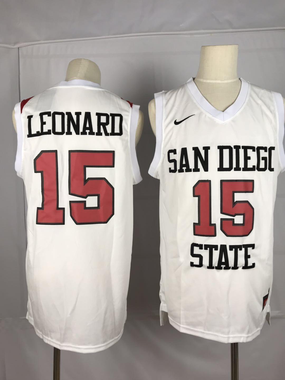Nike San Diego State 15 Kawhi Leonard White College Basketball Jersey