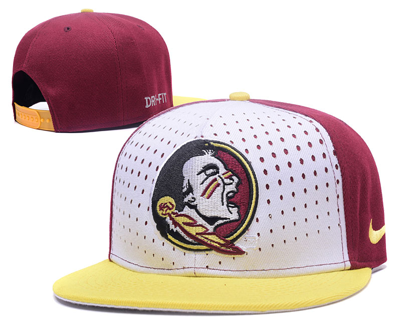 Florida State Seminoles Team Logo White Red Adjustable Hat GS