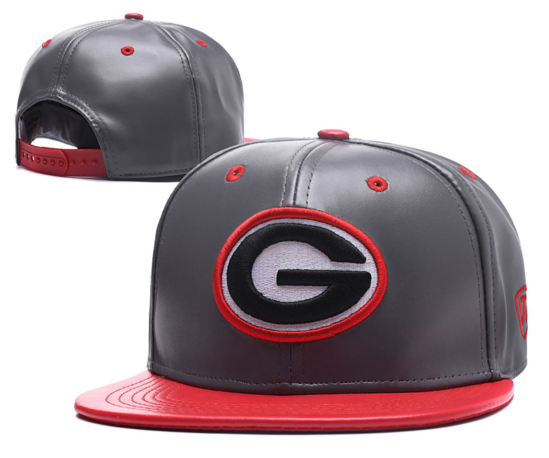 Georgia Bulldogs Team Logo Gray Red Leather Adjustable Hat GS
