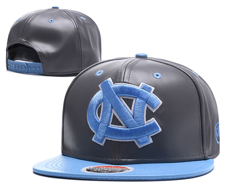 North Carolina Tar Heels Team Logo Gray Blue Leather Adjustable Hat GS