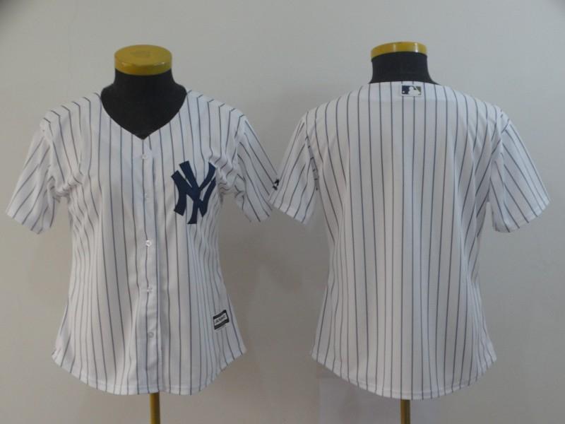 Yankees Blank White Women Cool Base Jersey