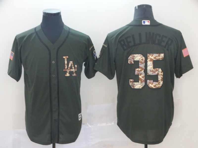 Dodgers 35 Cody Bellinger Olive Camo Salute To Service Cool Base Jersey