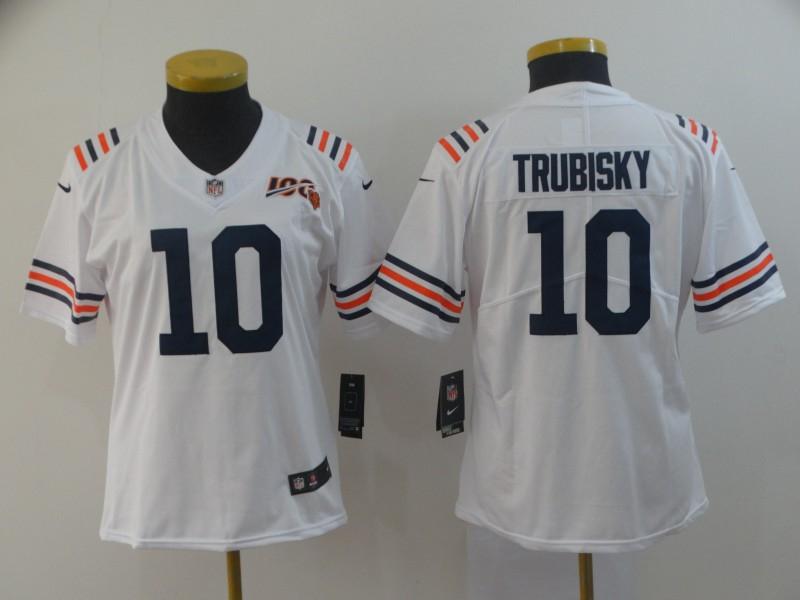 Nike Bears 10 Mitchell Trubisky White Women 2019 100th Season Alternate Classic Vapor Untouchable Limited Jersey