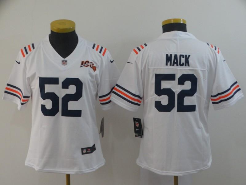 Nike Bears 52 Khalil Mack White Women 2019 100th Season Alternate Classic Vapor Untouchable Limited Jersey