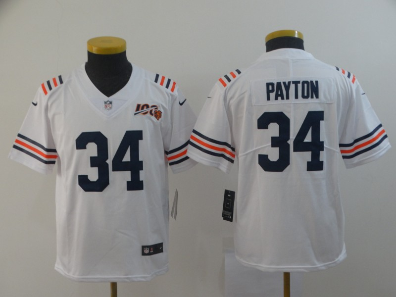 Nike Bears 34 Walter Payton White Youth 2019 100th Season Alternate Classic Retired Vapor Untouchable Limited Jersey