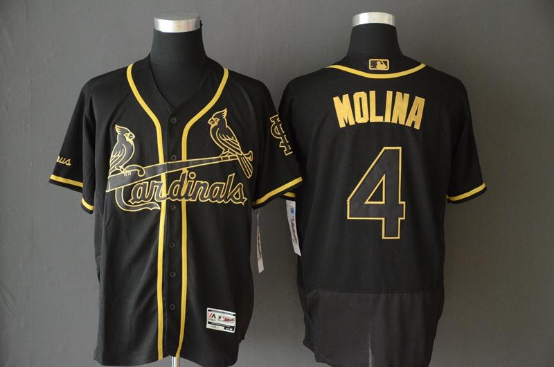 Cardinals 4 Yadier Molina Black Gold Flexbase Jersey