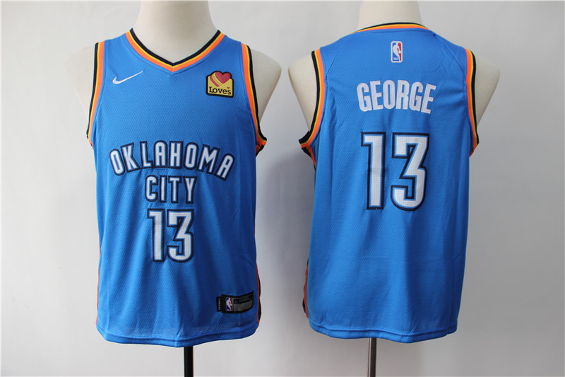 Thunder 13 Paul George Turquoise Light Blue Youth City Edition Nike Swingman Jersey