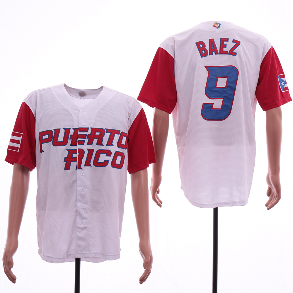 Men's Puerto Rico 9 Javier Baez White 2017 World Baseball Classic Jersey