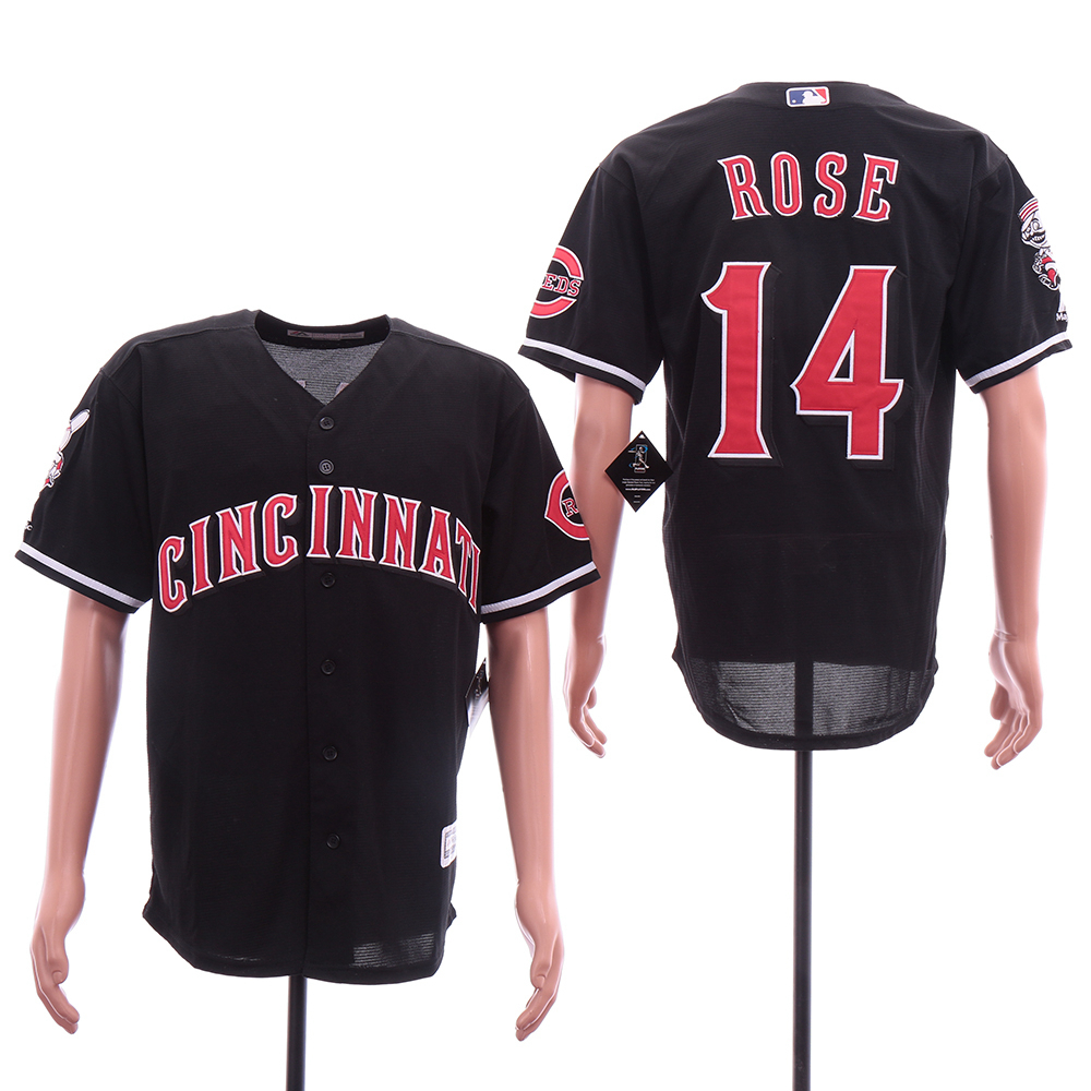 Reds 14 Pete Rose Black Cool Base Jersey