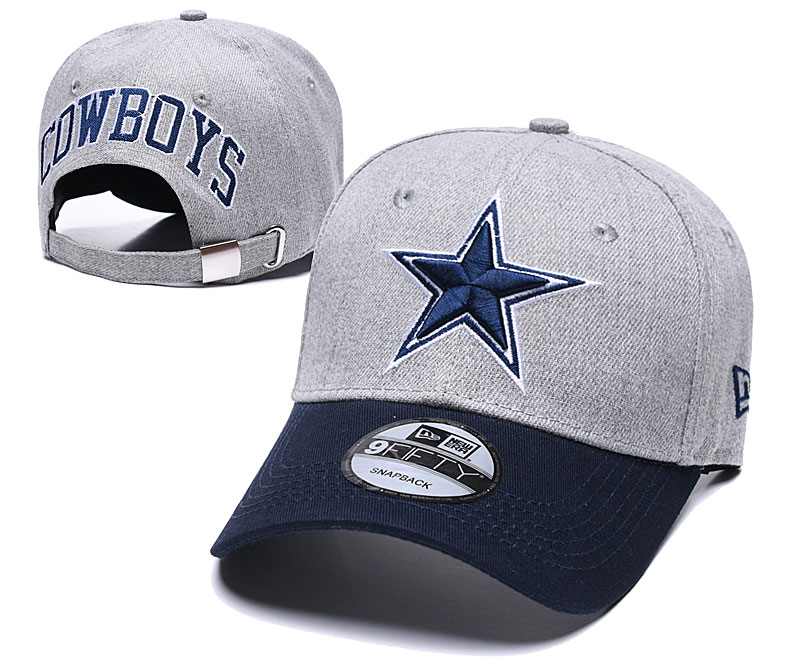 Cowboys Team Logo Gray Navy Peaked Adjustable Hat TX