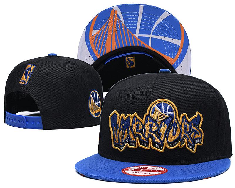 Warriors Team Logo Black Blue Adjustable Hat GS