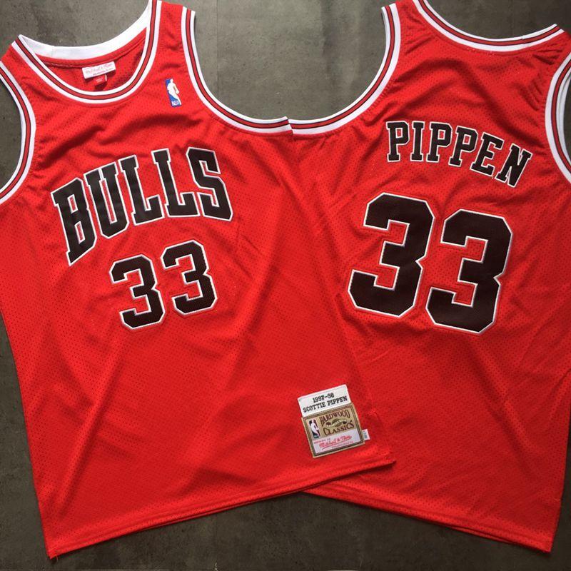 Bulls 33 Scottie Pippen Red 1997-98 Hardwood Classics Mesh Jersey