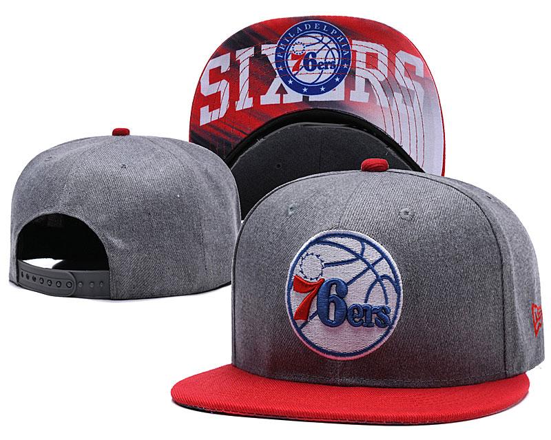 76ers Team Logo Black Red Adjustable Hat LH