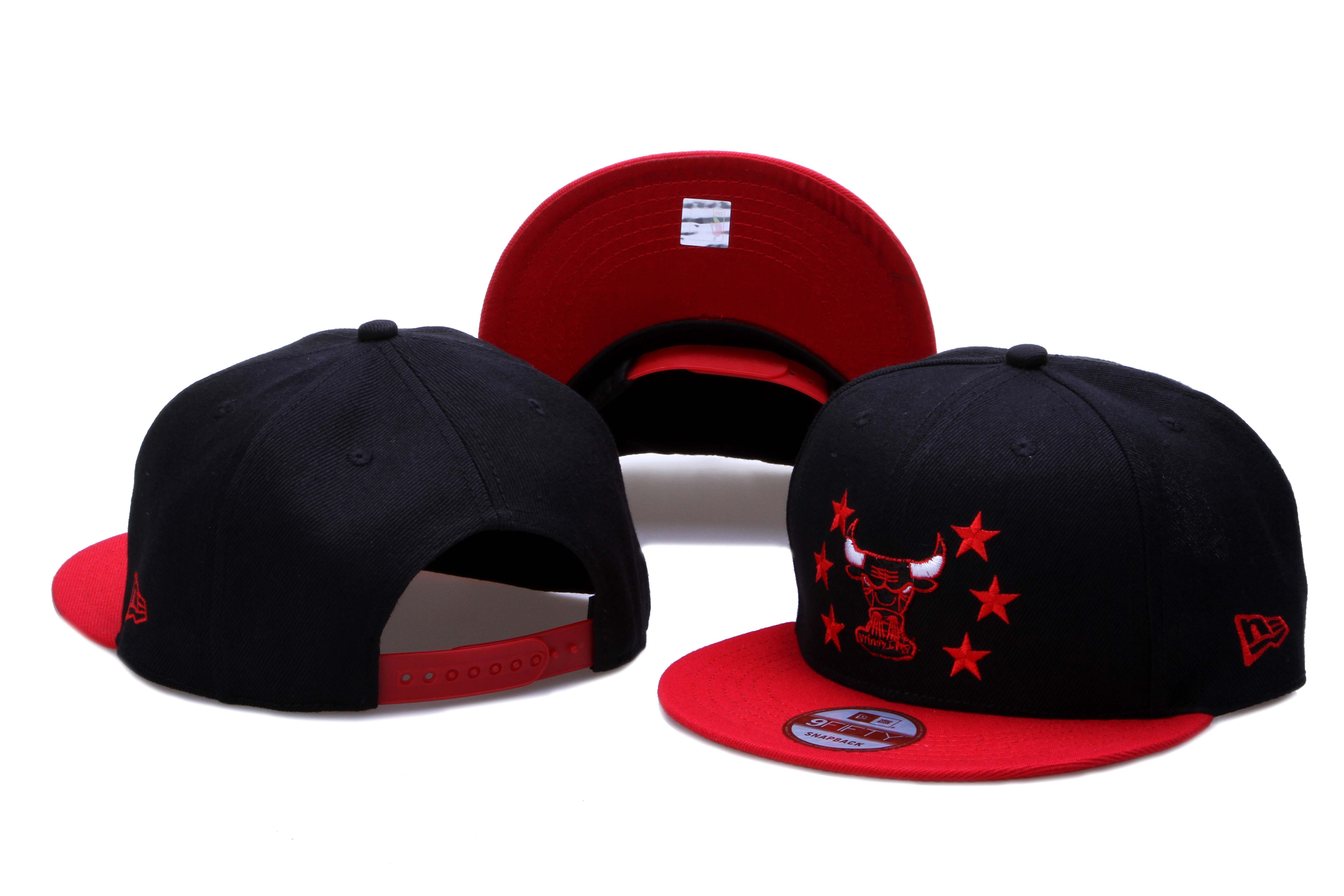 Bulls Team Logo Black Red Adjustable Hat LH