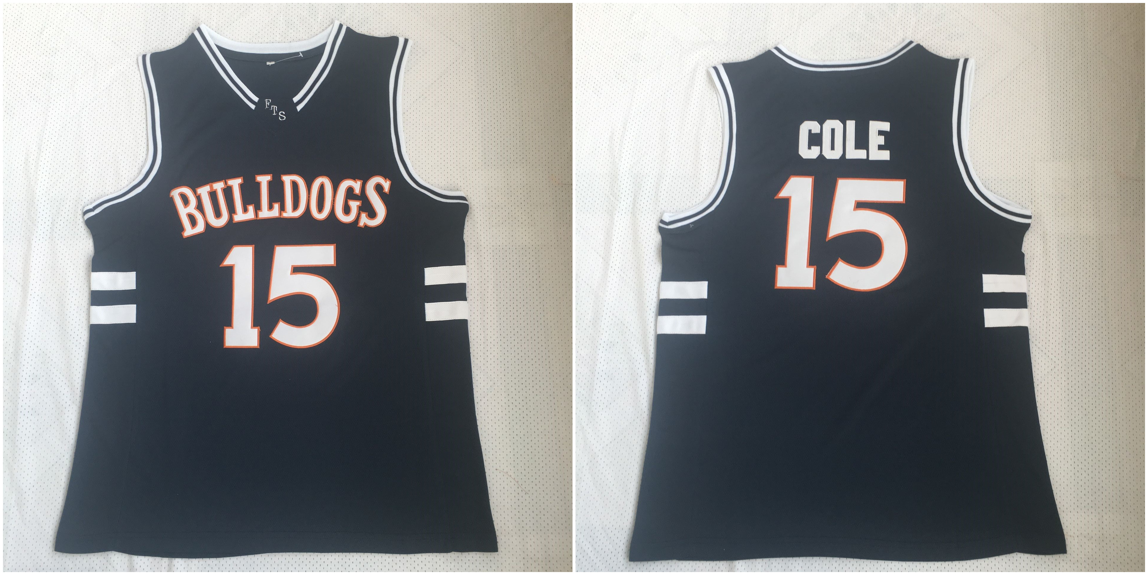 Bulldogs 15 J. Cole Navy Stitched Movie Basketball Jersey