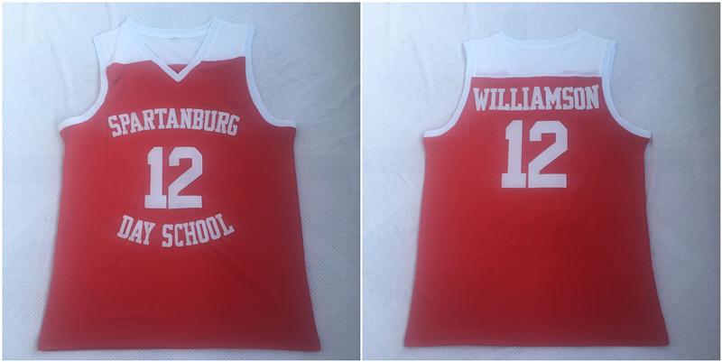 Spartanburg Griffins 12 Zion Williamson Red High School Basketball Jersey