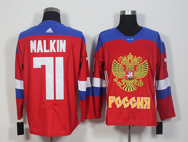 Russia 71 Evgeni Malkin Red World Cup of Hockey 2016 Premier Player Jersey