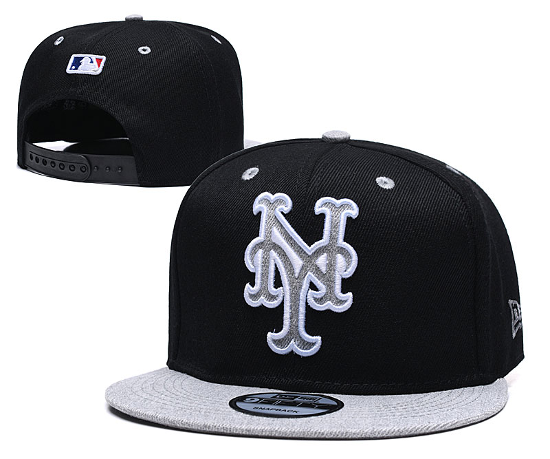 Mets Team Logo Black Adjustable Hat TX
