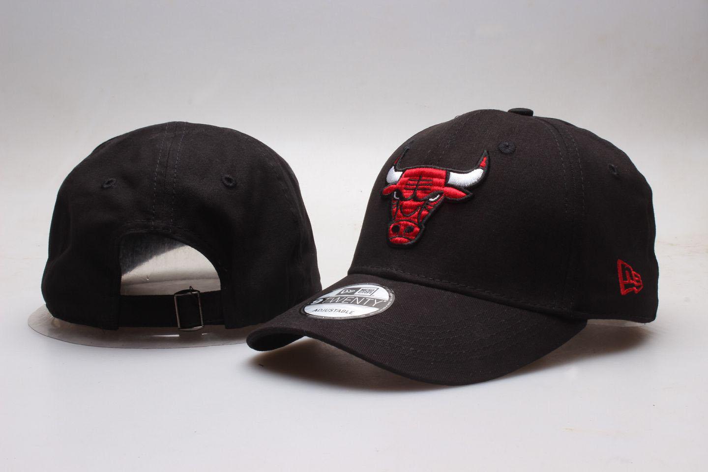 Bulls Team Logo Black Peaked Adjustable Hat YP