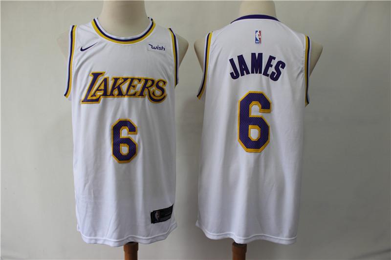 Lakers 6 Lebron James White Nike Swingman Jersey