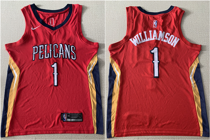 Pelicans 1 Zion Williamson Red Nike Swingman Jersey