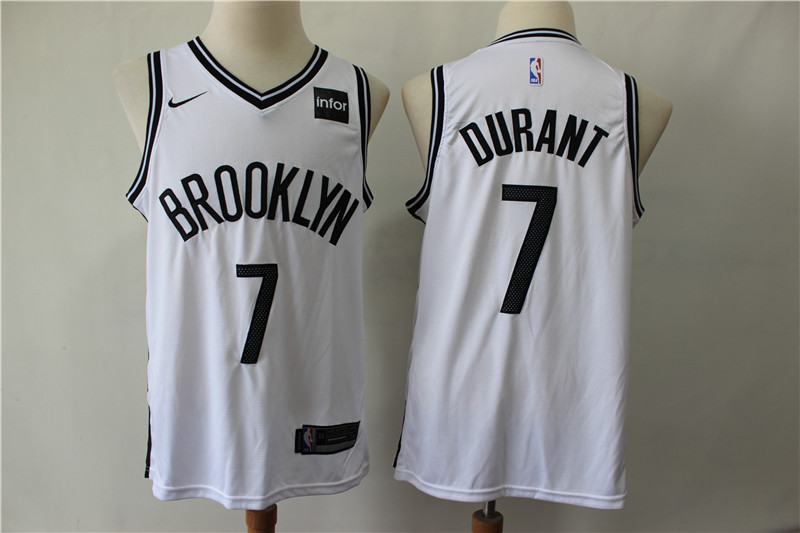Nets 7 Kevin Durant White Nike Swingman Jersey