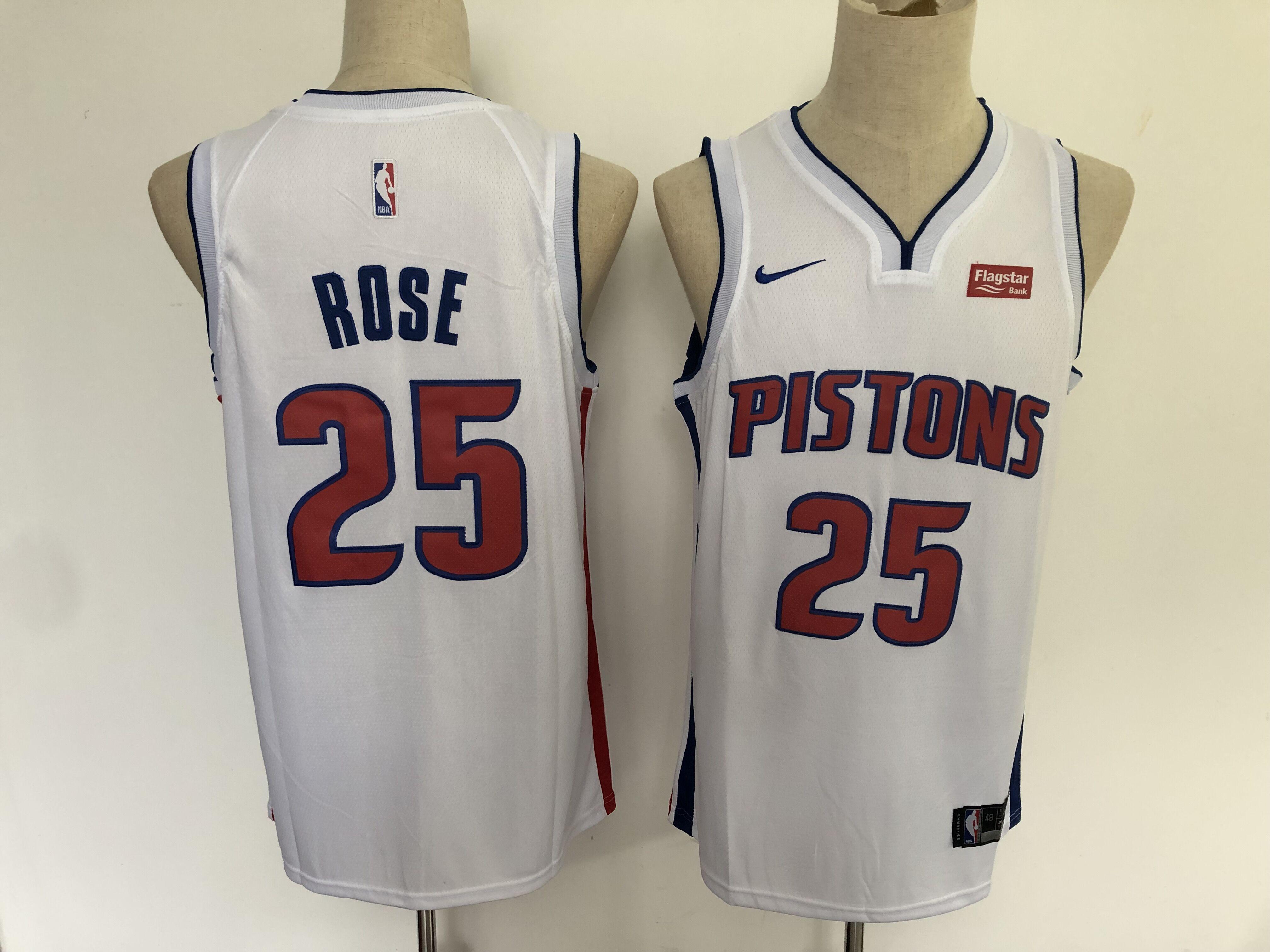 Pistons 25 Derrick Rose White Nike Swingman Jersey