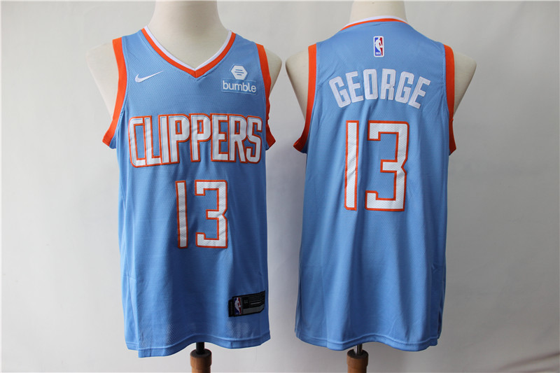 Clippers 13 Paul George Blue City Edition Nike Swingman Jersey