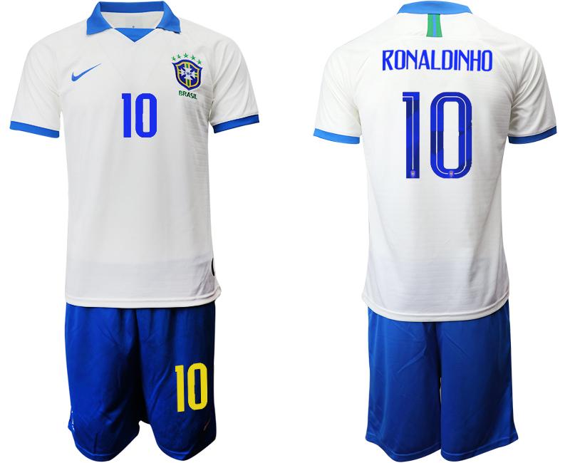 2019-20 Brazil 10 RONALDINHO White Special Edition Soccer Jersey
