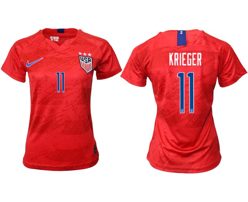 2019-20 USA 11 KRIEGER Away Women Soccer Jersey