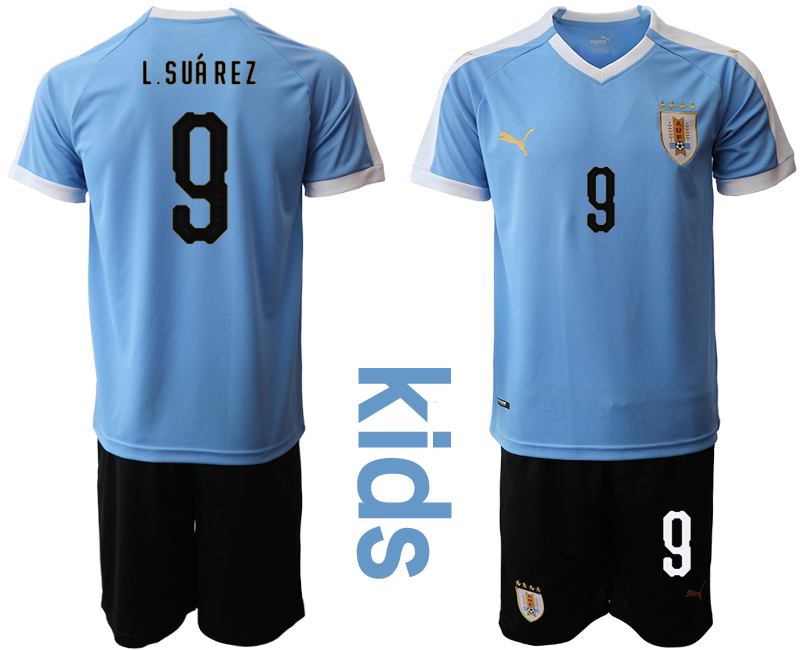 2019-20 Uruguay 9 L.SUAREZ Youth Home Soccer Jersey