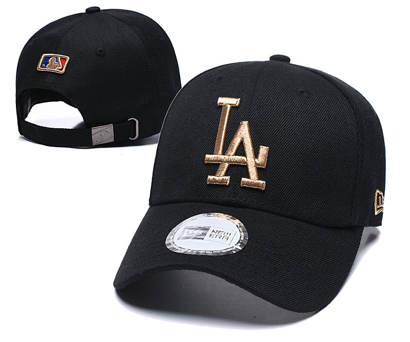 Dodgers Fresh Gold Logo Black Peaked Adjustable Hat TX