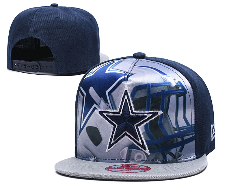 Cowboys Team Logo Navy Gray Adjustable Leather Hat TX