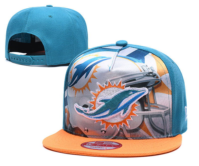 Dolphins Team Logo Blue Yellow Adjustable Leather Hat TX