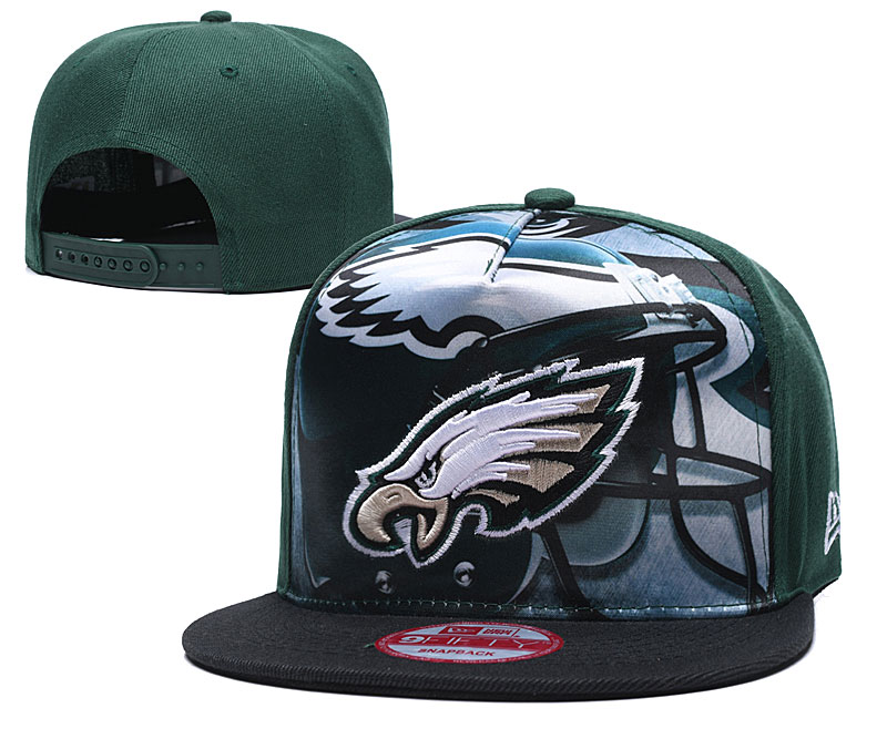 Eagles Team Logo Green Adjustable Leather Hat TX