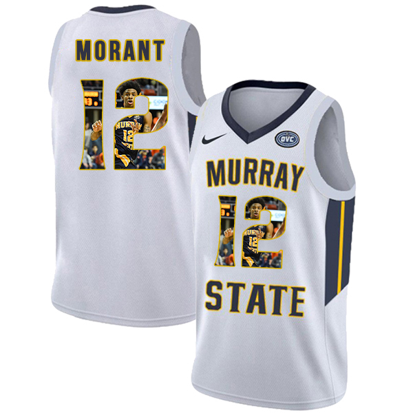 Murray State Racers 12 Ja Morant White Fashion College Basketball Jersey