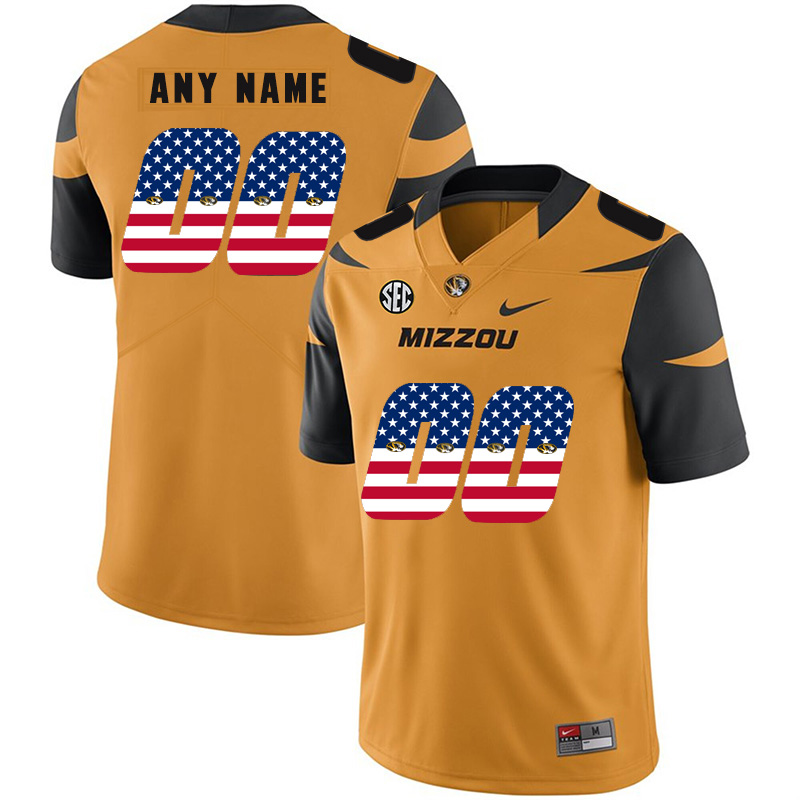 Missouri Tigers Customized Gold USA Flag Nike College Football Jersey