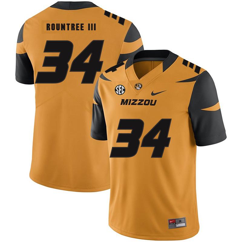 Missouri Tigers 34 Larry Rountree III Gold Nike College Football Jersey