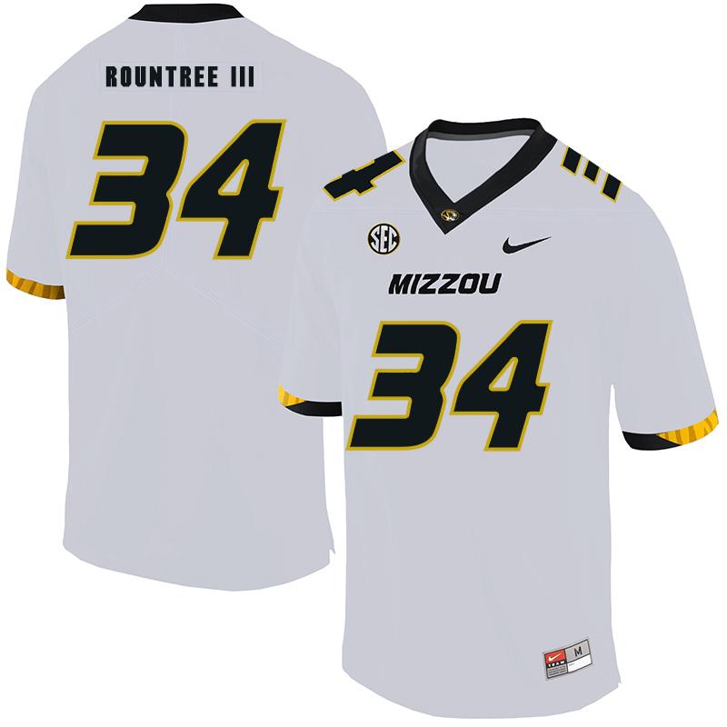 Missouri Tigers 34 Larry Rountree III White Nike College Football Jersey