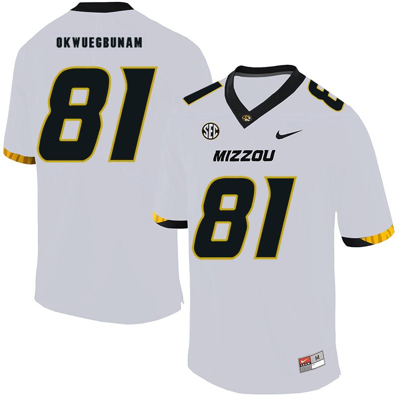 Missouri Tigers 81 Albert Okwuegbunam White Nike College Football Jersey