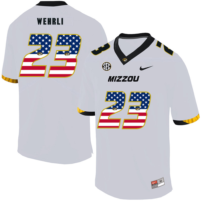 Missouri Tigers 23 Roger Wehrli White USA Flag Nike College Football Jersey