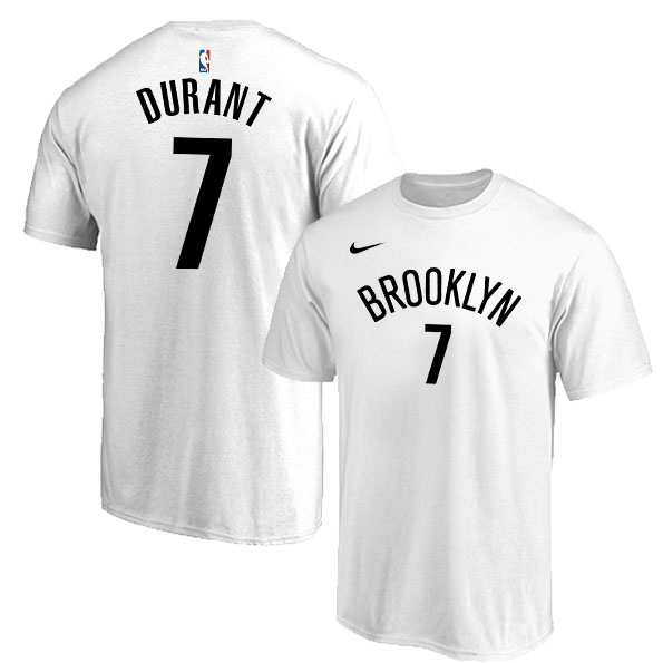 Brooklyn Nets 7 Kevin Durant White Nike T-Shirt