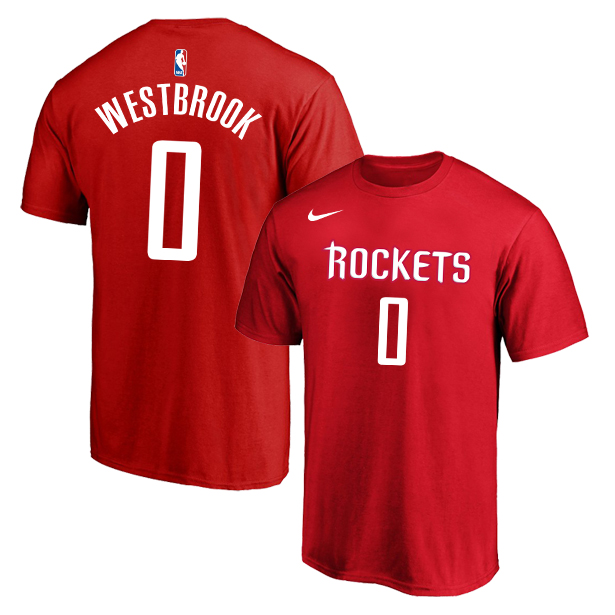 Houston Rockets 0 Russell Westbrook Red Nike T-Shirt