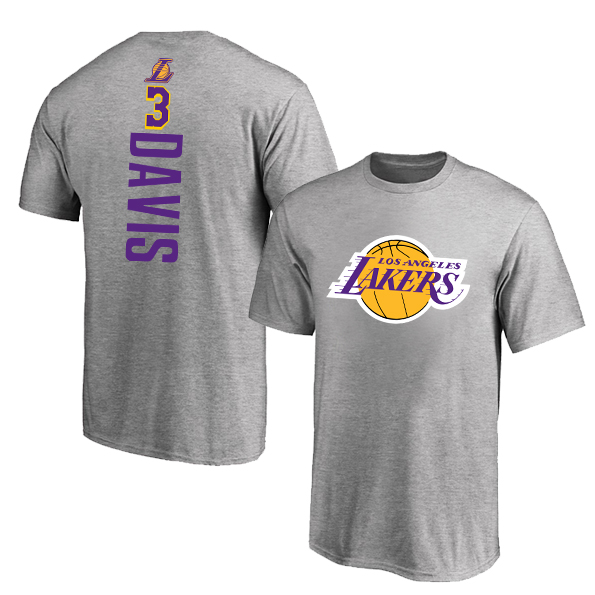 Los Angeles Lakers 3 Anthony Davis Gray Nike T-Shirt