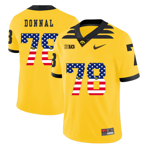 Iowa Hawkeyes 78 Andrew Donnal Yellow USA Flag College Football Jersey